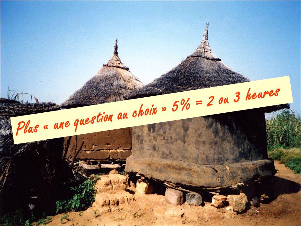 Plus « une question au choix » 5% = 2 ou 3 heures