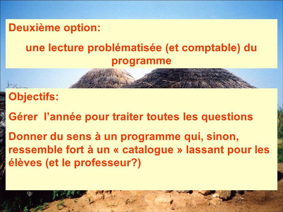 Deuxième option: une lecture problématisée (et comptable) du programme Objectifs: Gérer lannée pour traiter toutes les questions Donner du sens à un p