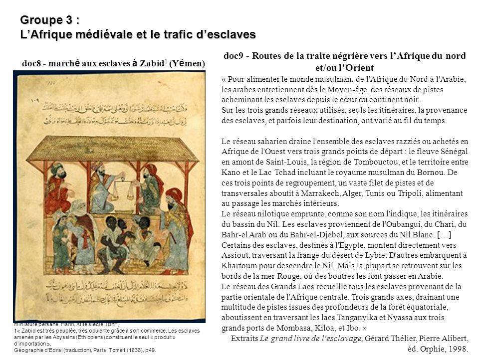 doc8 - march é aux esclaves à Zabid 1 (Y é men) miniature persane, Hariri, XIIIe siècle, (BnF) 1« Zabid est très peuplée, très opulente grâce à son co