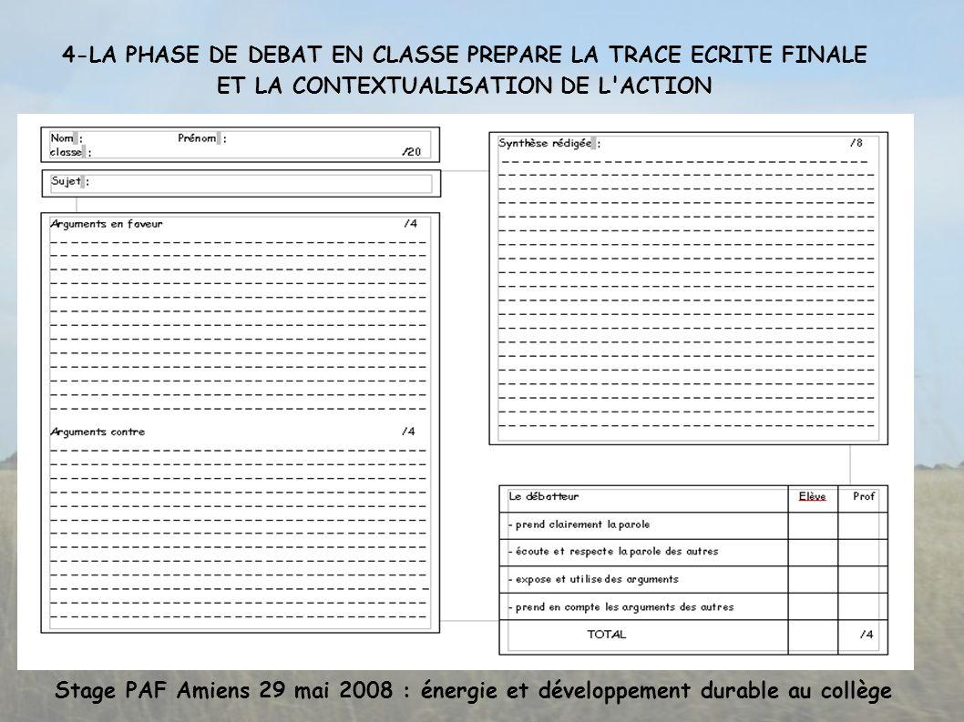 Stage PAF Amiens 29 mai 2008 : énergie et développement durable au collège 4-LA PHASE DE DEBAT EN CLASSE PREPARE LA TRACE ECRITE FINALE ET LA CONTEXTUALISATION DE L ACTION