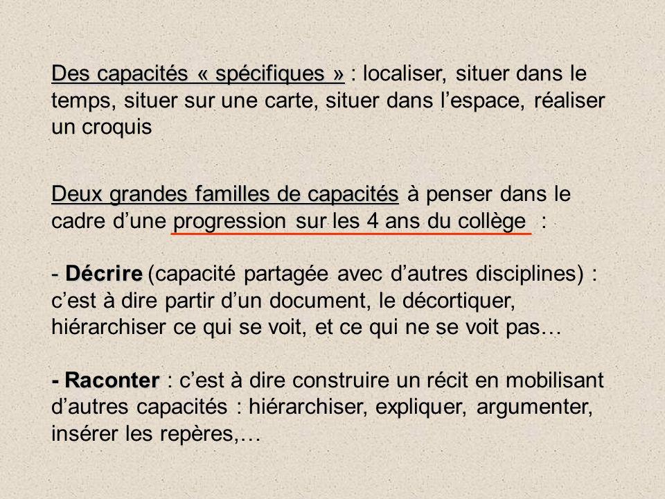 Deux grandes familles de capacités Deux grandes familles de capacités à penser dans le cadre dune progression sur les 4 ans du collège : - Décrire - D