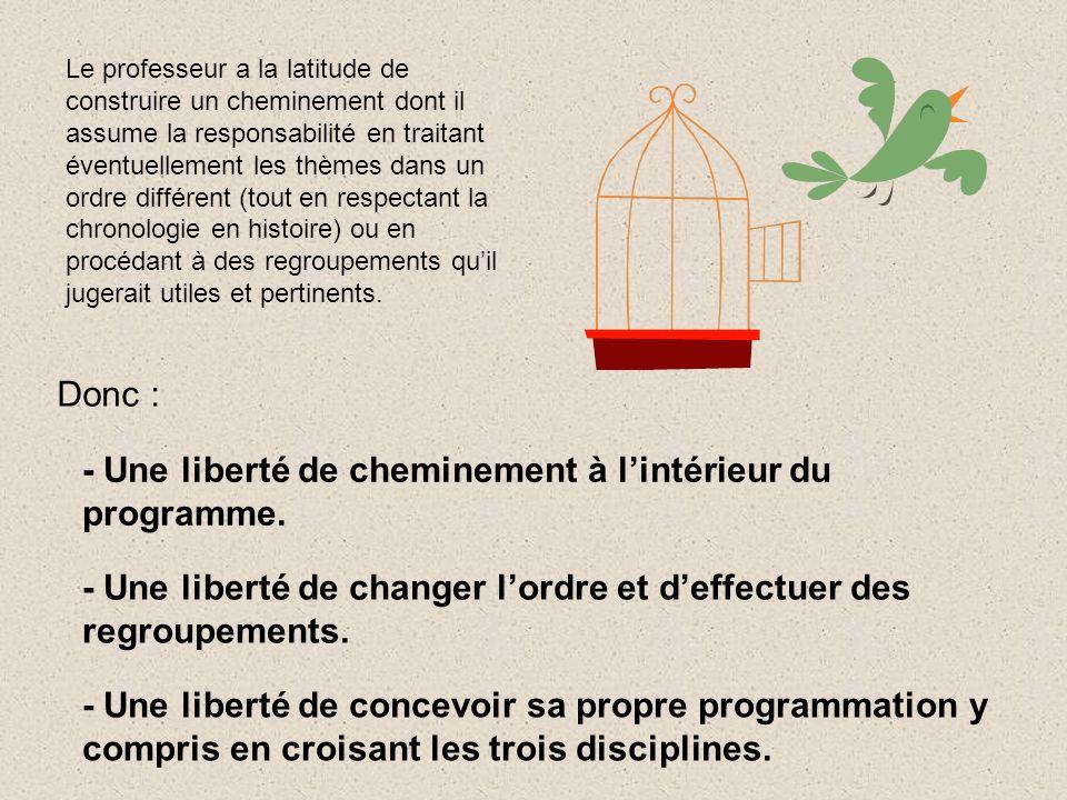 Donc : - Une liberté de cheminement à lintérieur du programme. - Une liberté de changer lordre et deffectuer des regroupements. - Une liberté de conce