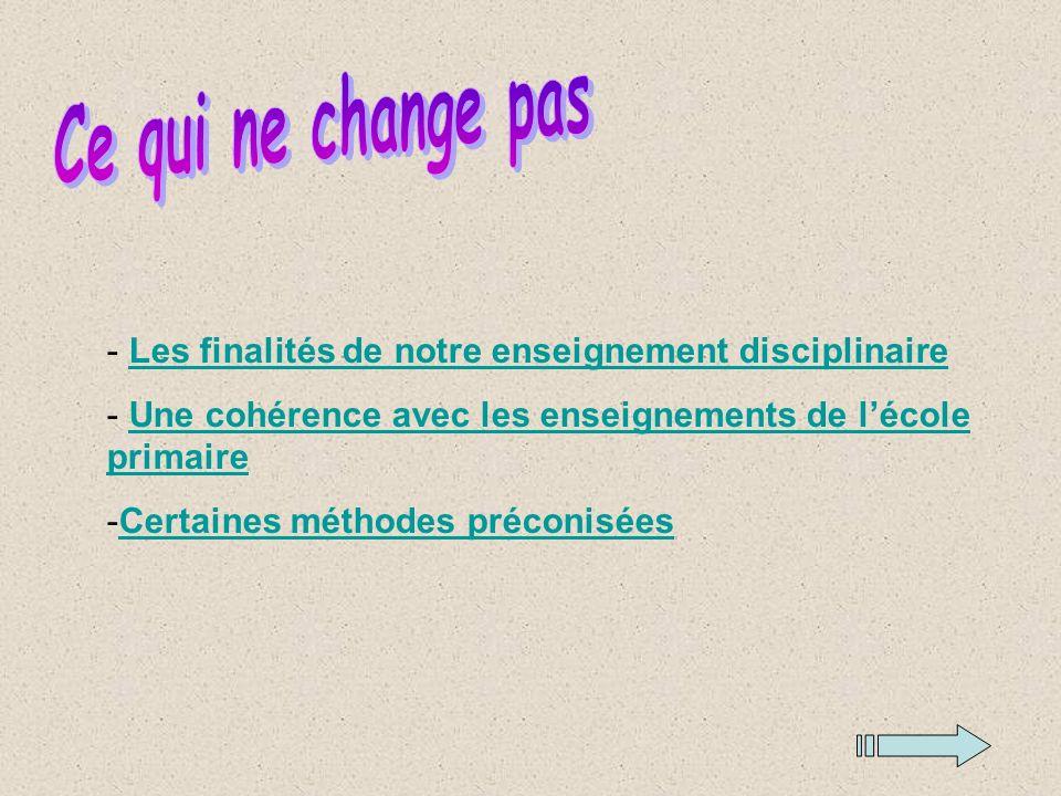 - Les finalités de notre enseignement disciplinaireLes finalités de notre enseignement disciplinaire - Une cohérence avec les enseignements de lécole