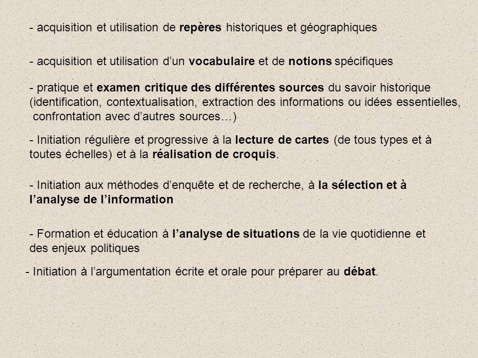 - acquisition et utilisation de repères historiques et géographiques - Initiation régulière et progressive à la lecture de cartes (de tous types et à