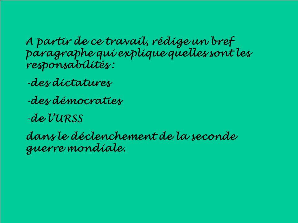 A partir de ce travail, rédige un bref paragraphe qui explique quelles sont les responsabilités : -des dictatures -des démocraties -de lURSS dans le d