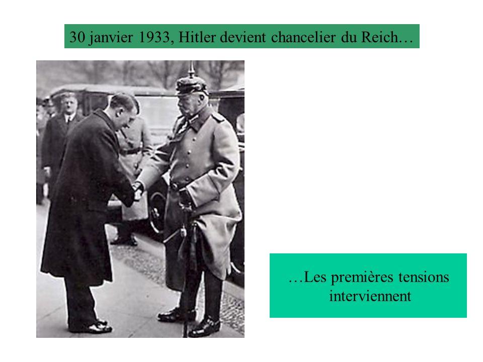 30 janvier 1933, Hitler devient chancelier du Reich… …Les premières tensions interviennent