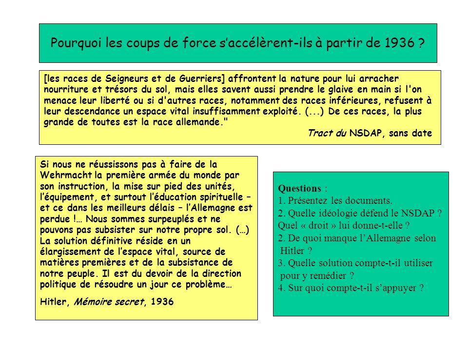 Pourquoi les coups de force saccélèrent-ils à partir de 1936 ? Questions : 1. Présentez les documents. 2. Quelle idéologie défend le NSDAP ? Quel « dr