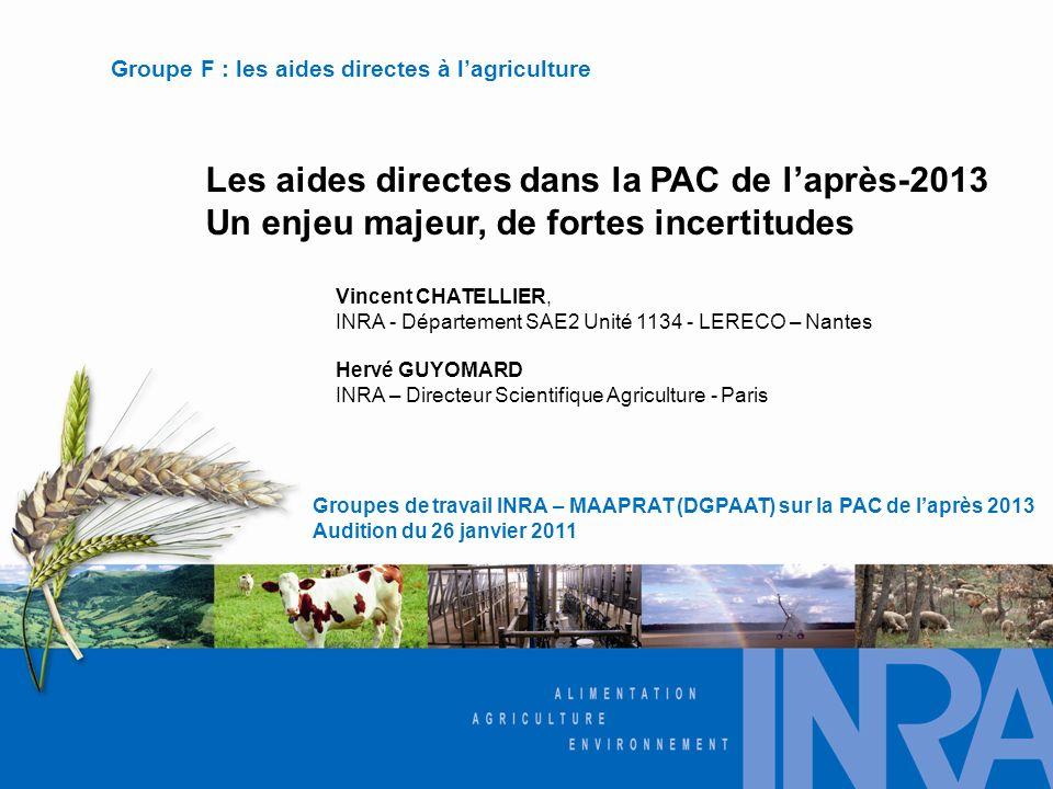 Les aides directes dans la PAC de laprès-2013 Un enjeu majeur, de fortes incertitudes Groupes de travail INRA – MAAPRAT (DGPAAT) sur la PAC de laprès 2013 Audition du 26 janvier 2011 Groupe F : les aides directes à lagriculture Vincent CHATELLIER, INRA - Département SAE2 Unité 1134 - LERECO – Nantes Hervé GUYOMARD INRA – Directeur Scientifique Agriculture - Paris
