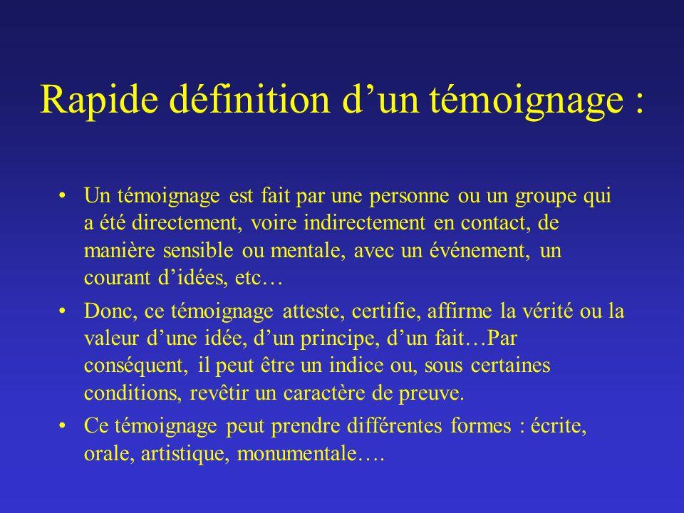 TEMOIGNER DE LA GRANDE GUERRE I.