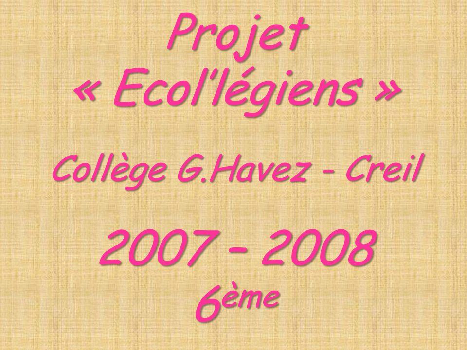Projet « Ecollégiens » Collège G.Havez - Creil 2007 – 2008 6 ème