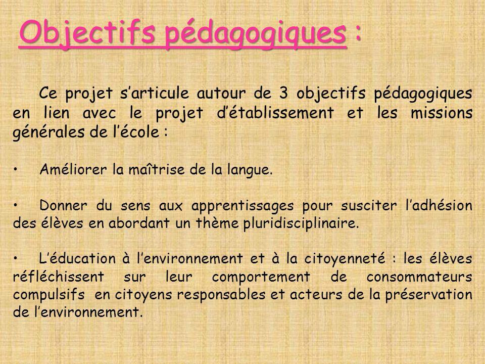 Objectifs pédagogiques : Ce projet sarticule autour de 3 objectifs pédagogiques en lien avec le projet détablissement et les missions générales de léc