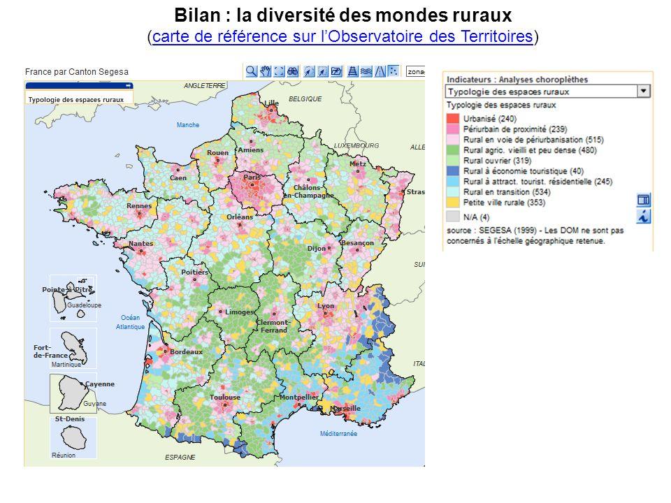 Bilan : la diversité des mondes ruraux (carte de référence sur lObservatoire des Territoires)carte de référence sur lObservatoire des Territoires