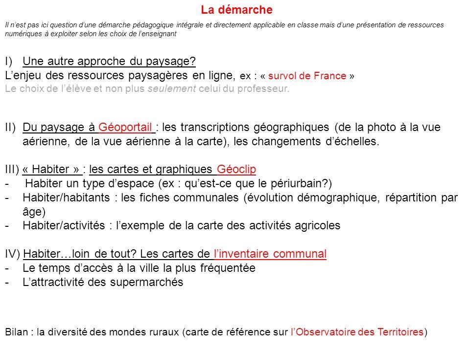 I)Une autre approche du paysage? Lenjeu des ressources paysagères en ligne, ex : « survol de France » Le choix de lélève et non plus seulement celui d