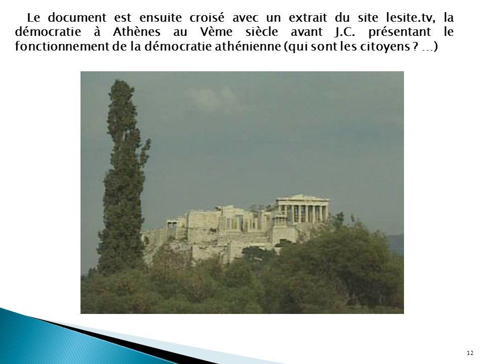 12 Le document est ensuite croisé avec un extrait du site lesite.tv, la démocratie à Athènes au Vème siècle avant J.C. présentant le fonctionnement de