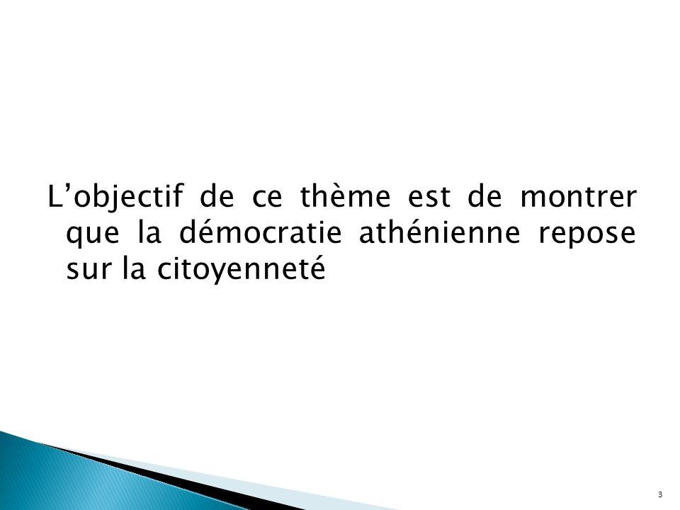Lobjectif de ce thème est de montrer que la démocratie athénienne repose sur la citoyenneté 3