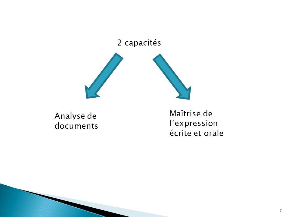 7 2 capacités Analyse de documents Maîtrise de lexpression écrite et orale