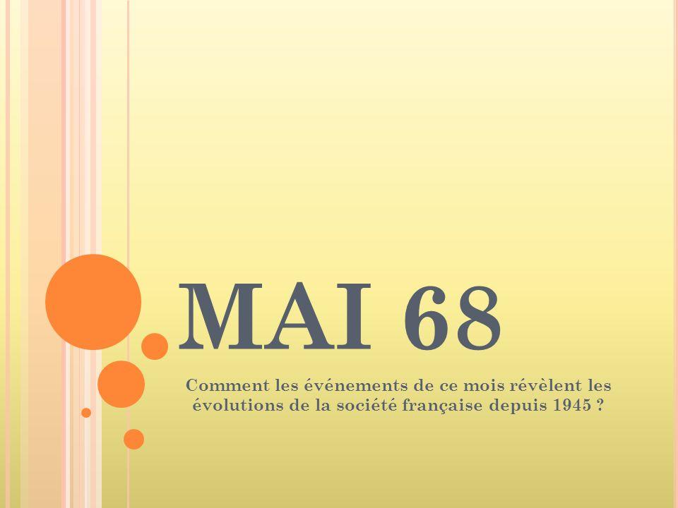 MAI 68 Comment les événements de ce mois révèlent les évolutions de la société française depuis 1945 ?