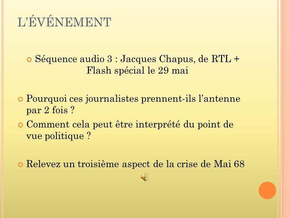 LÉVÉNEMENT Séquence audio 3 : Jacques Chapus, de RTL + Flash spécial le 29 mai Pourquoi ces journalistes prennent-ils lantenne par 2 fois ? Comment ce