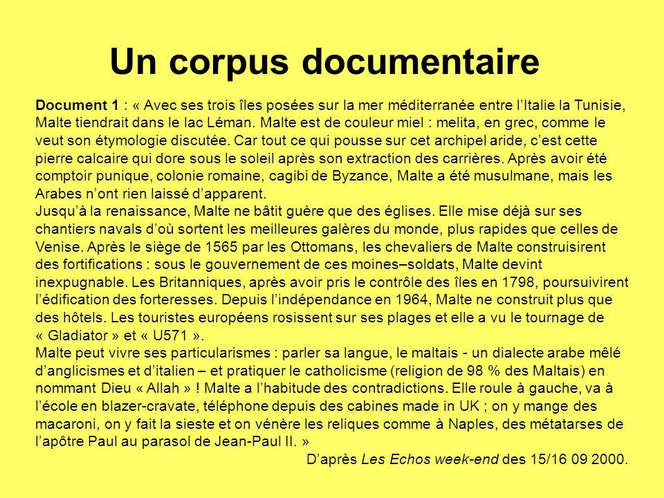 Document 1 : « Avec ses trois îles posées sur la mer méditerranée entre lItalie la Tunisie, Malte tiendrait dans le lac Léman. Malte est de couleur mi