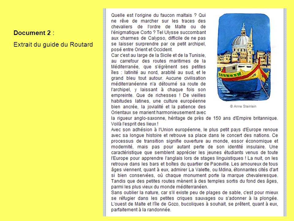 Document 2 : Extrait du guide du Routard