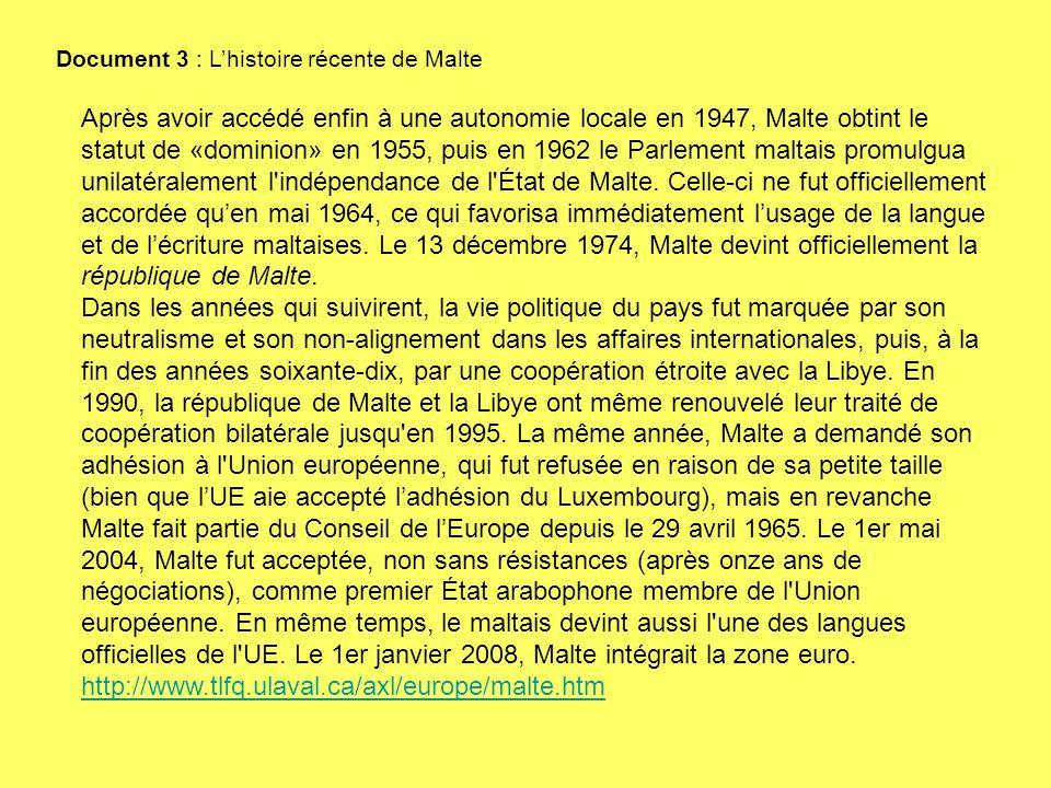 Après avoir accédé enfin à une autonomie locale en 1947, Malte obtint le statut de «dominion» en 1955, puis en 1962 le Parlement maltais promulgua unilatéralement l indépendance de l État de Malte.