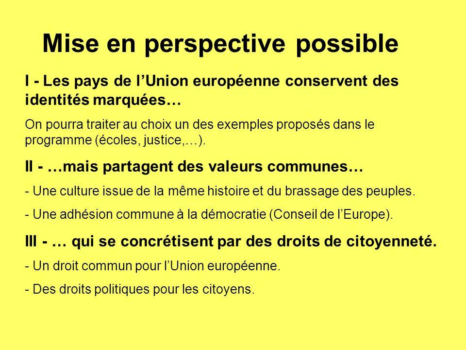 Mise en perspective possible I - Les pays de lUnion européenne conservent des identités marquées… On pourra traiter au choix un des exemples proposés dans le programme (écoles, justice,…).