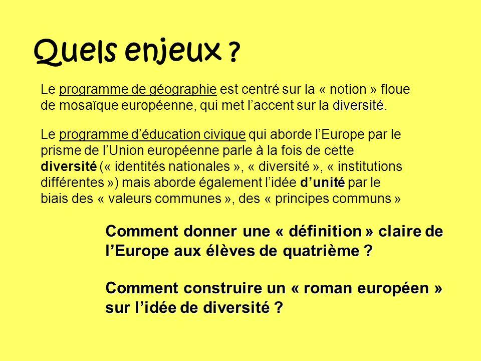 Quels enjeux ? diversité Le programme de géographie est centré sur la « notion » floue de mosaïque européenne, qui met laccent sur la diversité. unité