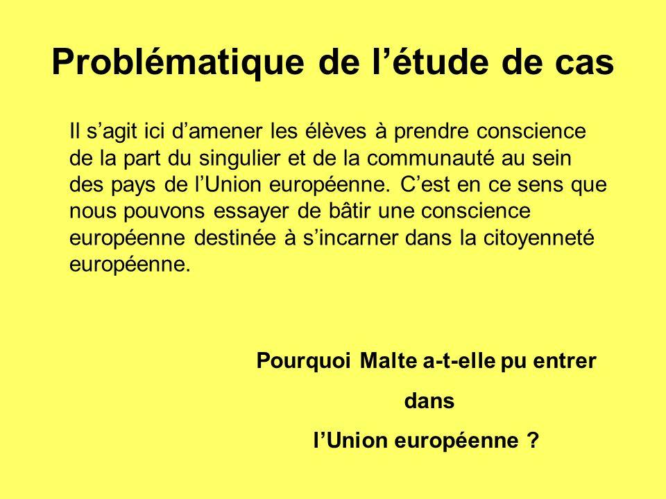 Problématique de létude de cas Il sagit ici damener les élèves à prendre conscience de la part du singulier et de la communauté au sein des pays de lUnion européenne.