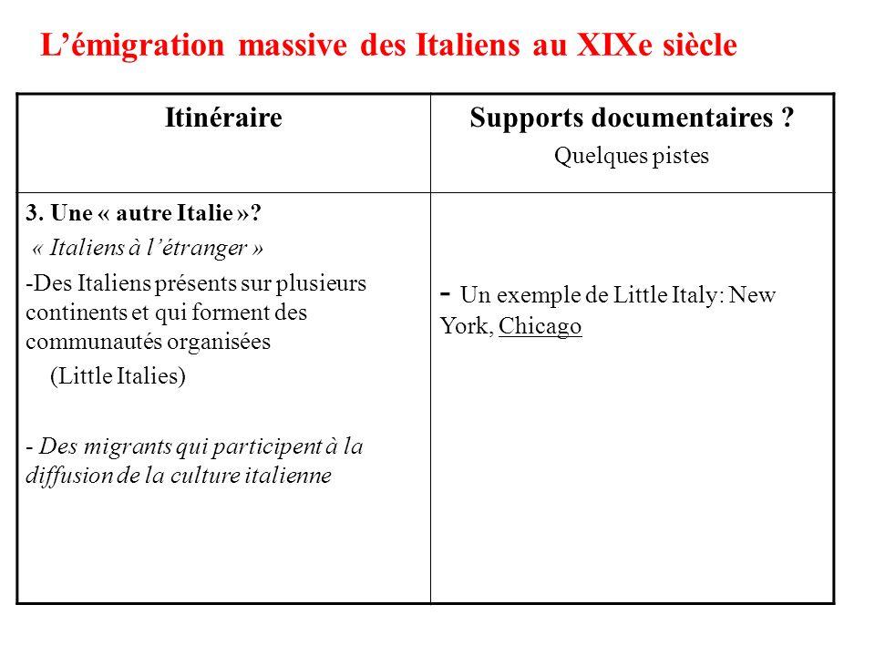 ItinéraireSupports documentaires ? Quelques pistes 3. Une « autre Italie »? « Italiens à létranger » -Des Italiens présents sur plusieurs continents e