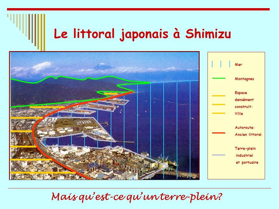 Le littoral japonais à Shimizu Mer Montagnes Espace densément construit: Ville Autoroute: Ancien littoral Terre-plein industriel et portuaire Mais que