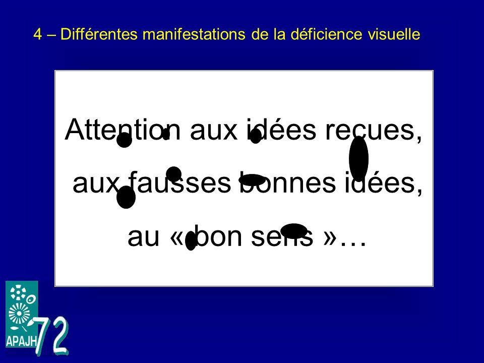 4 – Différentes manifestations de la déficience visuelle Attention aux idées reçues, aux fausses bonnes idées, au « bon sens »…
