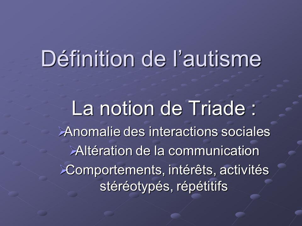 Définition de lautisme La notion de Triade : Anomalie des interactions sociales Anomalie des interactions sociales Altération de la communication Alté
