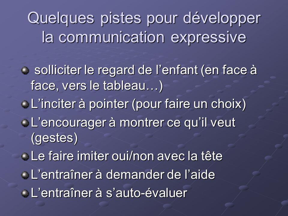 Quelques pistes pour développer la communication expressive solliciter le regard de lenfant (en face à face, vers le tableau…) solliciter le regard de