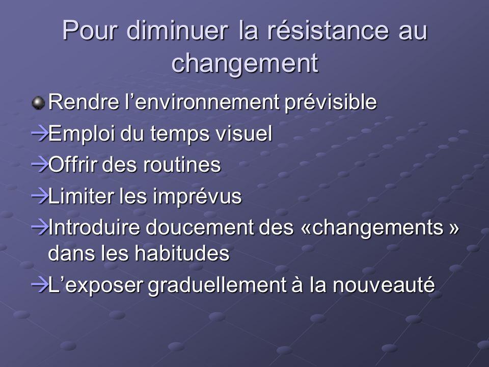Pour diminuer la résistance au changement Rendre lenvironnement prévisible Emploi du temps visuel Emploi du temps visuel Offrir des routines Offrir de