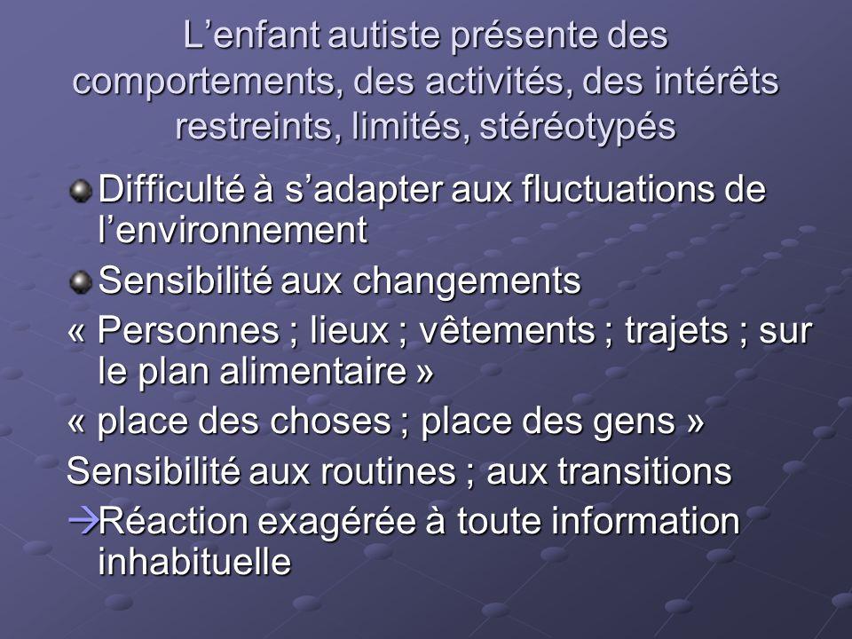 Lenfant autiste présente des comportements, des activités, des intérêts restreints, limités, stéréotypés Difficulté à sadapter aux fluctuations de len