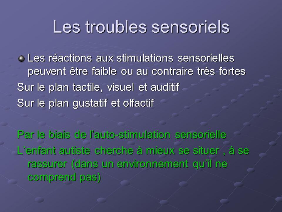 Les troubles sensoriels Les réactions aux stimulations sensorielles peuvent être faible ou au contraire très fortes Sur le plan tactile, visuel et aud