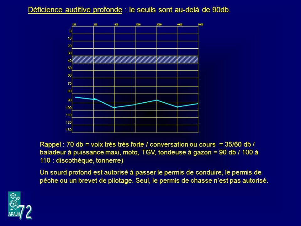 1252505001000200040008000 0 10 20 30 40 50 60 70 80 90 100 110 120 130 Déficience auditive profonde : le seuils sont au-delà de 90db.