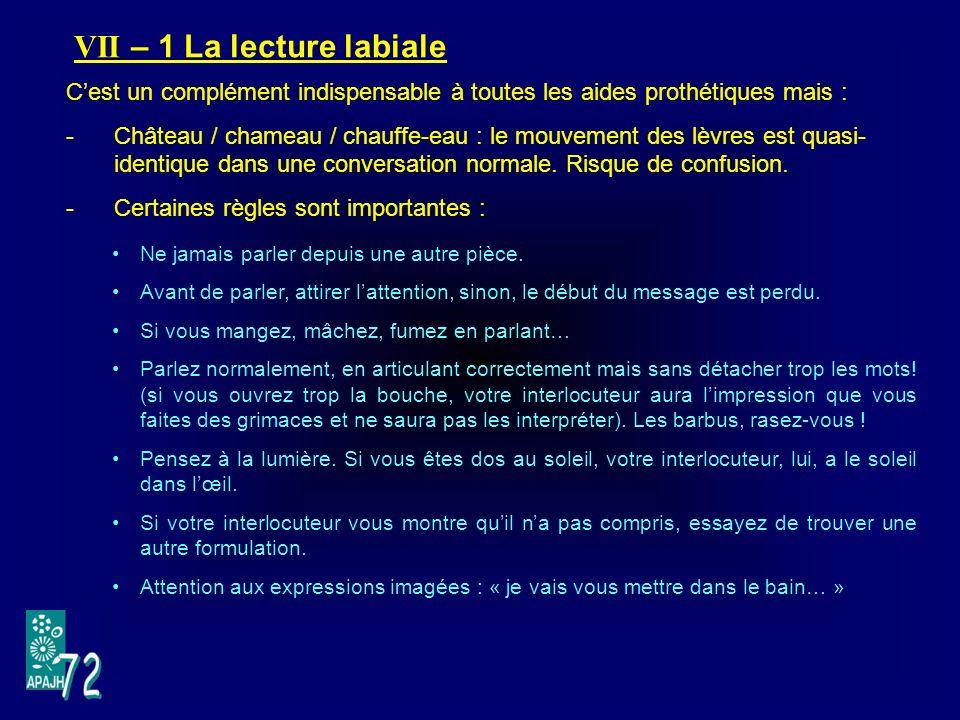 VII – 1 La lecture labiale Cest un complément indispensable à toutes les aides prothétiques mais : -Château / chameau / chauffe-eau : le mouvement des lèvres est quasi- identique dans une conversation normale.