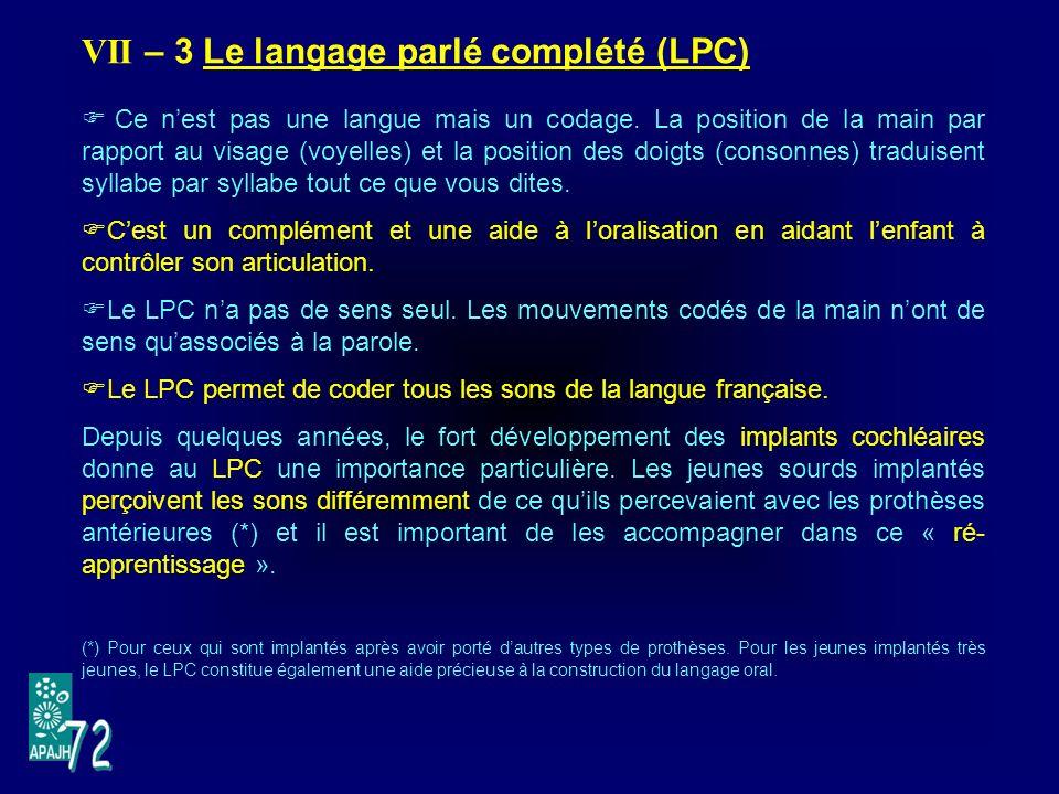 VII – 3 Le langage parlé complété (LPC) Ce nest pas une langue mais un codage.