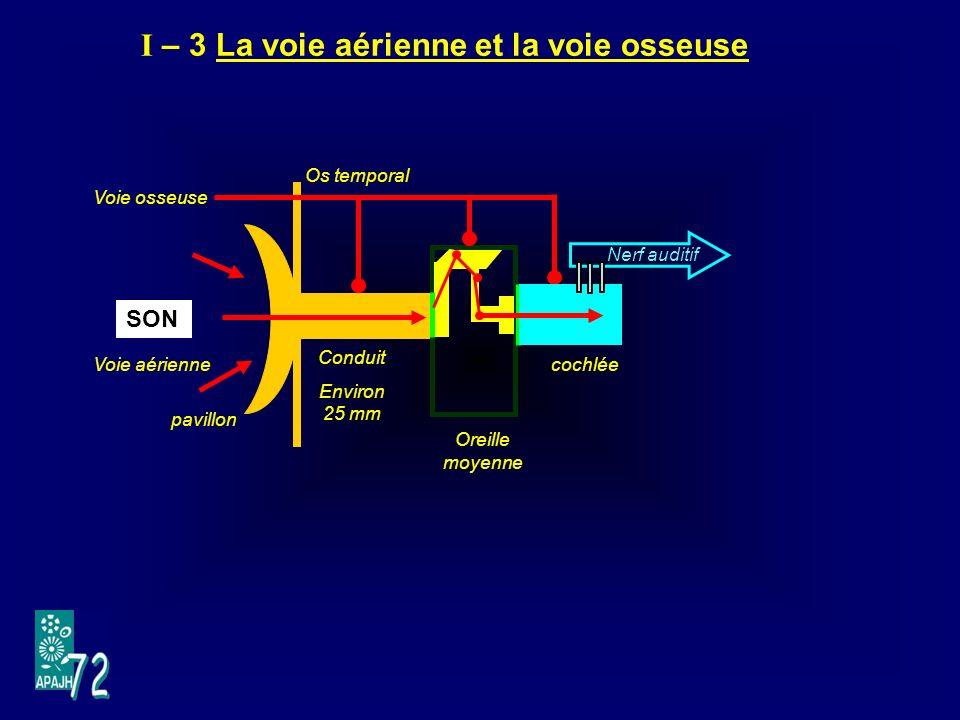 I – 3 La voie aérienne et la voie osseuse SON Voie osseuse Voie aérienne pavillon Os temporal Conduit Environ 25 mm Oreille moyenne Nerf auditif cochlée