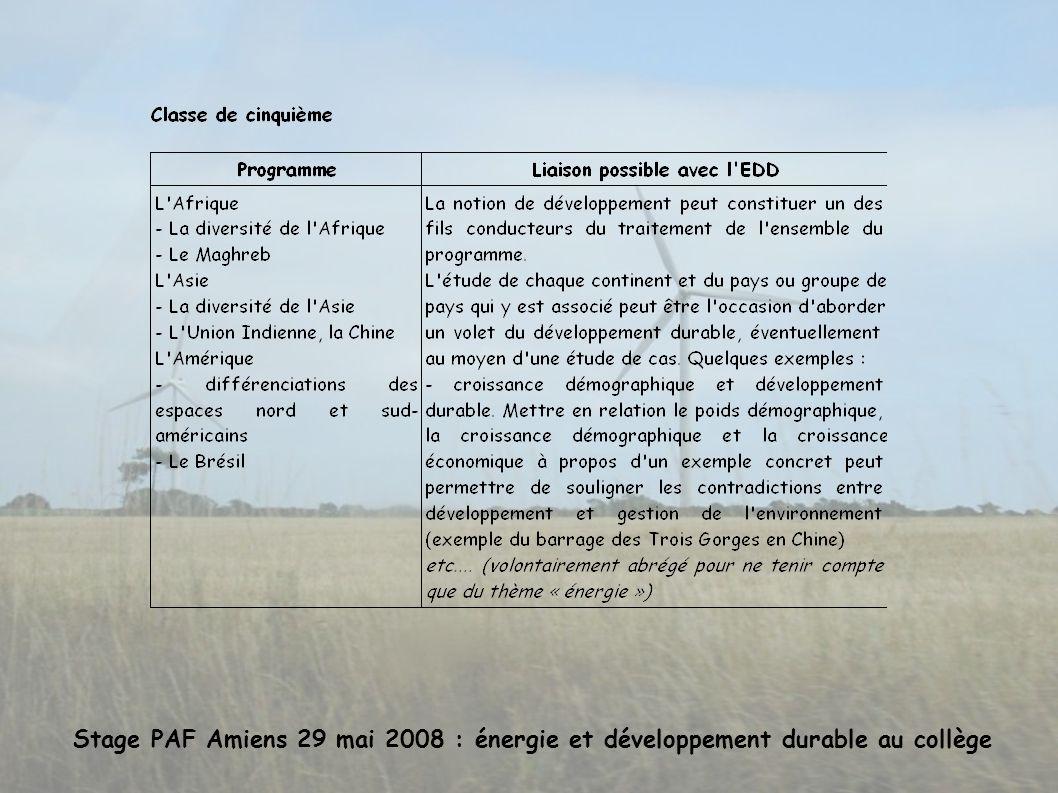 Stage PAF Amiens 29 mai 2008 : énergie et développement durable au collège