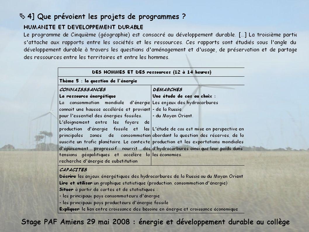 Stage PAF Amiens 29 mai 2008 : énergie et développement durable au collège 4] Que prévoient les projets de programmes