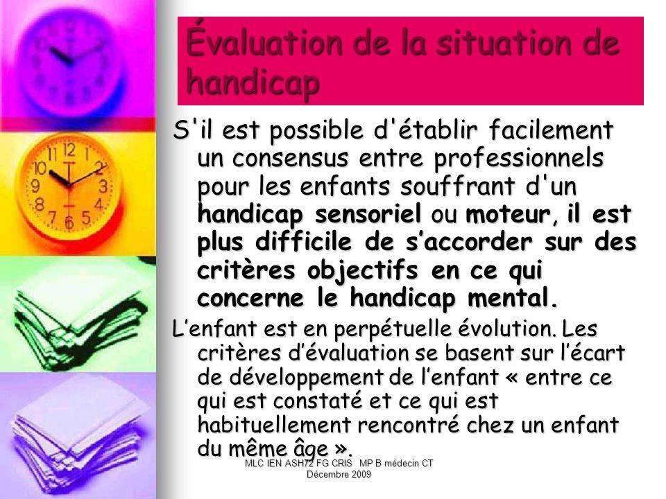 Évaluation de la situation de handicap S'il est possible d'établir facilement un consensus entre professionnels pour les enfants souffrant d'un handic