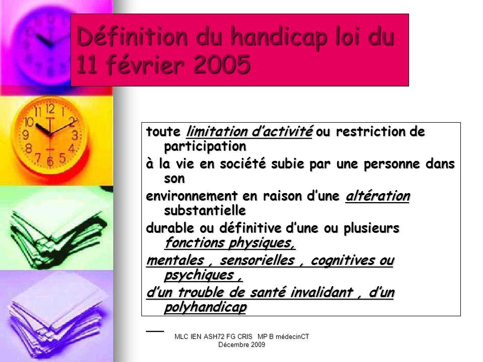 Définition du handicap loi du 11 février 2005 toute limitation dactivité ou restriction de participation à la vie en société subie par une personne da