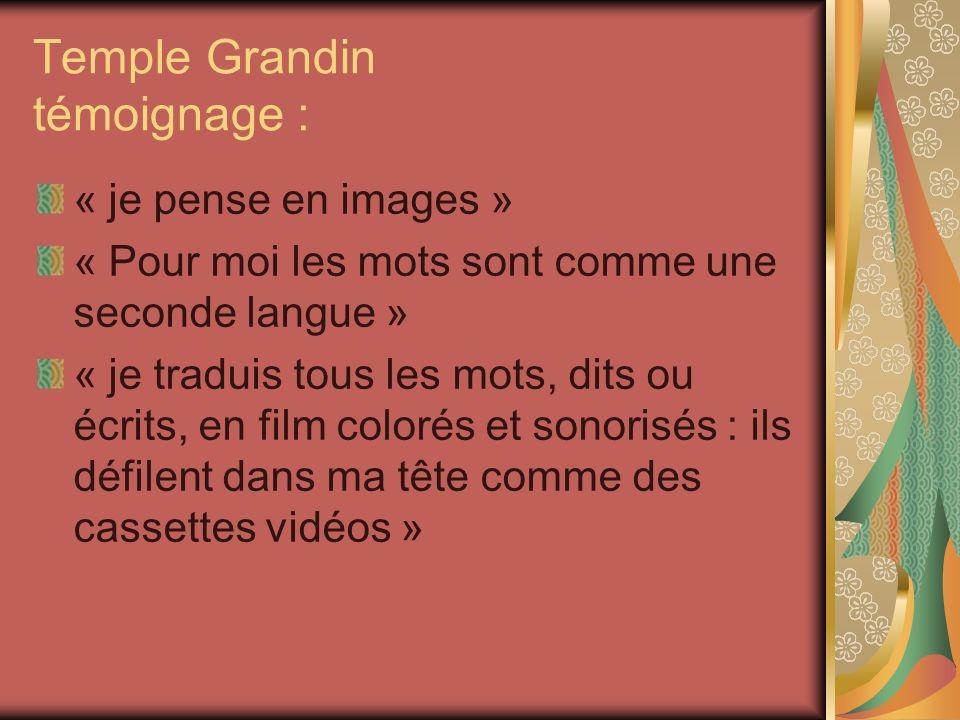 Temple Grandin témoignage : « je pense en images » « Pour moi les mots sont comme une seconde langue » « je traduis tous les mots, dits ou écrits, en