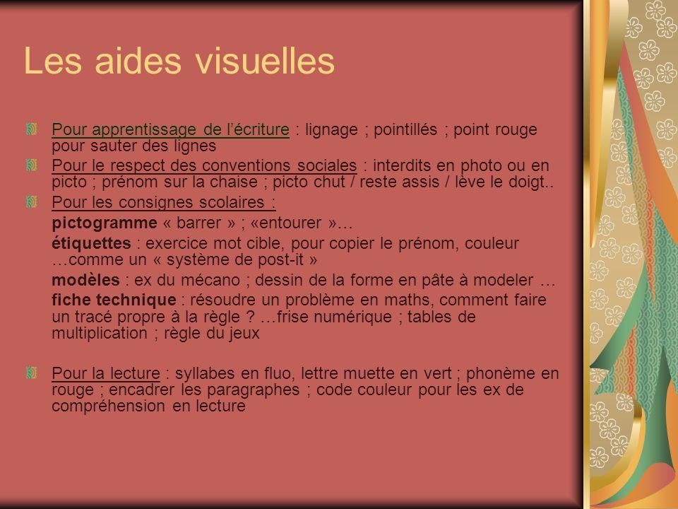 Les aides visuelles Pour apprentissage de lécriture : lignage ; pointillés ; point rouge pour sauter des lignes Pour le respect des conventions social