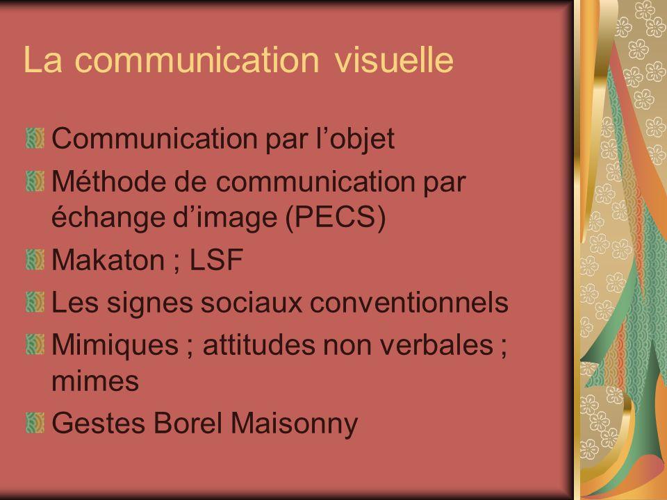 La communication visuelle Communication par lobjet Méthode de communication par échange dimage (PECS) Makaton ; LSF Les signes sociaux conventionnels