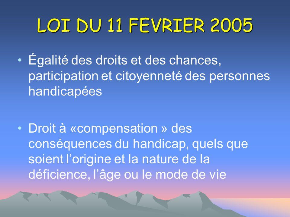 LOI DU 11 FEVRIER 2005 Égalité des droits et des chances, participation et citoyenneté des personnes handicapées Droit à «compensation » des conséquen