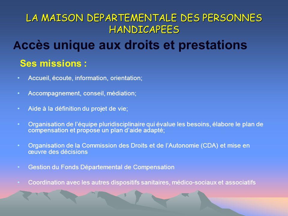 LA MAISON DEPARTEMENTALE DES PERSONNES HANDICAPEES Accueil, écoute, information, orientation; Accompagnement, conseil, médiation; Aide à la définition