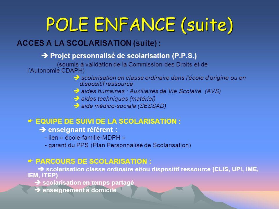 POLE ENFANCE (suite) ACCES A LA SCOLARISATION (suite) : Projet personnalisé de scolarisation (P.P.S.) (soumis à validation de la Commission des Droits